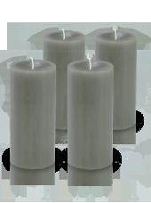 Pack de 4 bougies cylindre premium Gris 7x15cm
