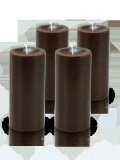 Pack de 4 bougies cylindre premium Chocolat 7x15cm