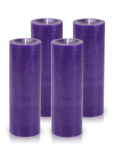 Pack de 4 bougies cylindre premium Violet aubergine 7x20cm