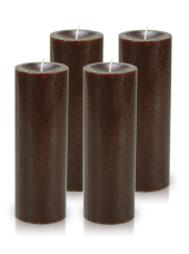 Pack de 4 bougies cylindre premium Chocolat 7x20cm