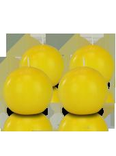 Pack de 4 bougies ronde premium Jaune 8cm