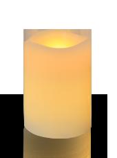 Bougie pilier LED vagues Ivoire 7,5x10cm