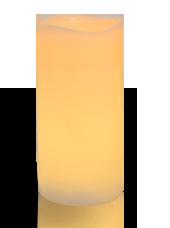 Bougie pilier LED vagues Ivoire 7,5x15cm