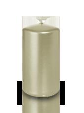Bougie pilier métallisée Perle 6x10cm