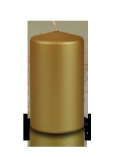Bougie pilier métallisée Or 6x10cm