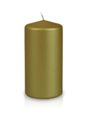 Bougie pilier métallisée Dorée 6x12cm