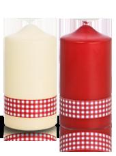 Pack de 2 bougies de Noël Vichy Rouge et Blanc 8x15cm