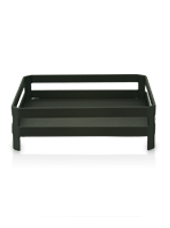 Support carré pour bougie XL noir 26x9cm