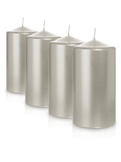 Pack de 4 bougies pilier métallisées Argent 7x10cm