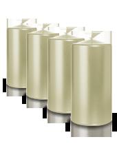 Pack de 4 bougies pilier métallisées Perle 7x10cm
