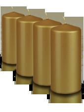 Pack de 4 bougies pilier métallisées Or 7x15cm