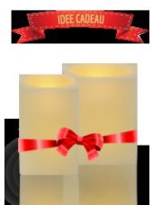 Pack de 2 bougies carrées LED 6/8x10cm