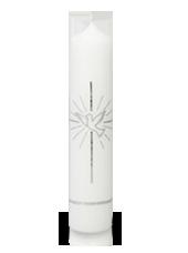 Bougie de baptême colombe Argent 6x26,5cm