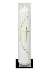 Bougie de communion croix Or  6x26,5cm