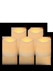 Pack de 5 bougies Vagues LED Ivoire 7x7,5cm