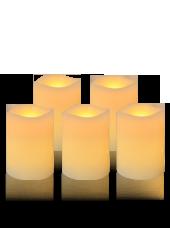 Pack de 5 bougies Vagues LED Ivoire 7x10cm