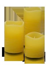 3 bougies LED Jaune Rustique 5x5/7,5/10cm