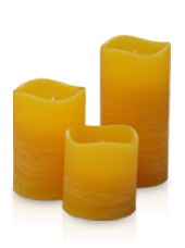 3 bougies LED Orange Rustique 5x5/7,5/10cm