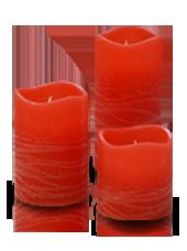 3 bougies LED Rouge Rustique 5x5/7,5/10cm