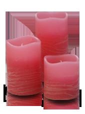 3 bougies LED Rose Rustique 5x5/7,5/10cm