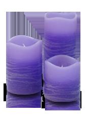 3 bougies LED Violet Rustique 5x5/7,5/10cm
