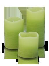 3 bougies LED Vert Rustique 5x5/7,5/10cm