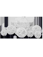 Assortiment de 10 boules Blanc en Alu tressé (80g)