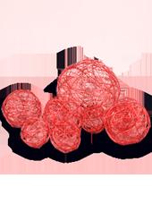 Assortiment de 10 boules Rouge en Alu tressé (80g)