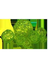 Assortiment de 10 boules Vert en Alu tressé (80g)